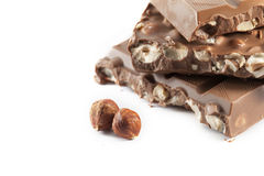 Milk Chocolate with hazelnuts Royalty Free Stock Images