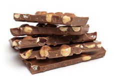 Milk chocolate with hazelnuts Royalty Free Stock Photo