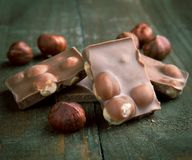 Chocolate with hazelnuts Stock Photos