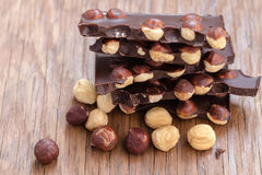 Milk chocolate with hazelnuts Stock Images