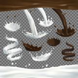 Milk and chocolate jets splashes, drops and blots. Milk and chocolate jet splashes, drops and blots set. 3d Realistic liquid ilustration. Vector drink on royalty free illustration