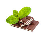Milk chocolate with mint filling. Isolated on a white background Stock Photo