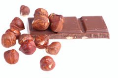 Milk chocolate with nuts Stock Photography