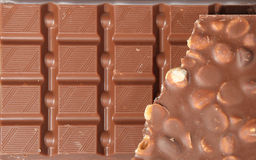 Milk Chocolate with nuts Stock Photo