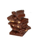 Milk chocolate with nuts isolated Royalty Free Stock Photos