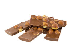 Milk chocolate with nuts Stock Photos