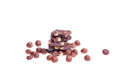 Milk chocolate with nuts Royalty Free Stock Photo