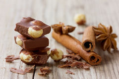 Milk chocolate slices with nuts, cinnamon sticks and anise star Royalty Free Stock Image