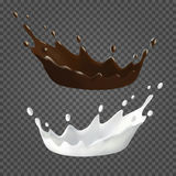 Milk and chocolate splashes and drops. Set. 3d Realistic liquid ilustration. Vector drink on transparent background royalty free illustration