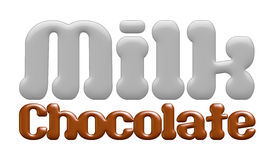 Milk chocolate text isolated on white background Stock Photos