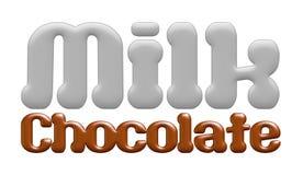 Milk chocolate text isolated on white background Stock Photos