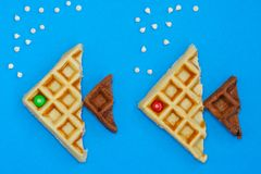 milk and chocolate waffles stock photography