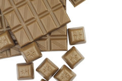 Milk chocolate on white Royalty Free Stock Images