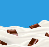 Milk with chopped chocolate vector illustration Stock Images