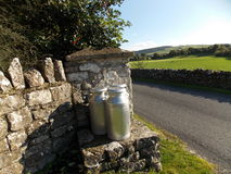 MILK CHURNS Stock Photo
