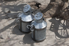 Milk churns, Jaipur city wall, the Pink City Royalty Free Stock Photography