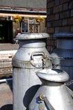Milk churns on railway platform, Bridgnorth. Stock Photo