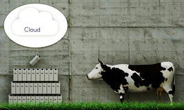 Milk clouding. Illustration of a cow that is storing milk via clouding Royalty Free Stock Image
