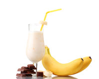 Free Milk Cocktail With Bananas And Chocolate Stock Image - 23861031
