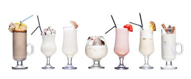 Milk cocktails isolated on white Stock Images