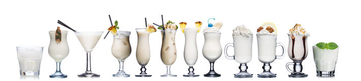 Milk cocktails isolated on white Royalty Free Stock Image