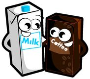 Milk and coffee cartoon isolated Stock Image