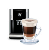 Milk coffee and coffee machine isolated Royalty Free Stock Photos