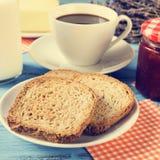 Milk, coffee, toasts and jam, cross-processed Stock Image