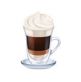 Milk coffee with whipped cream isolated Stock Photos