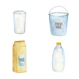 Milk containers Stock Photo