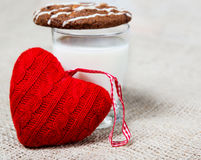 Milk, cookie and a red heart Stock Photo