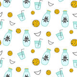 Milk and cookie seamless vector pattern. Dairy fun pattern with milk glass bottle, smiles and milk splash stains on white Royalty Free Stock Photos