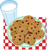 Milk and Cookies. A glass of milk and a plate of cookies Stock Images