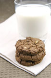 Milk And Cookies. Choc chip cookies and a glass of milk Royalty Free Stock Photos