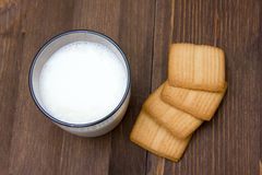 Milk and cookies from above Stock Photo