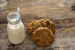 Milk and cookies childhood treat Royalty Free Stock Images