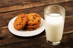 Milk with cookies stock photo