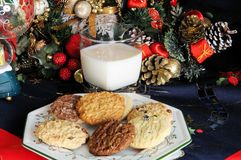 Milk and cookies for Father Christmas. Stock Photos