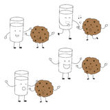 Milk and cookies friends character set matching  dancing ,heal Stock Photos