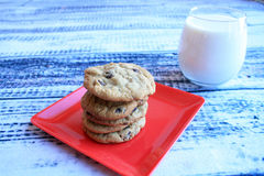 Milk and cookies front view Royalty Free Stock Photo