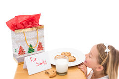 Milk and cookies left out for santa Stock Images