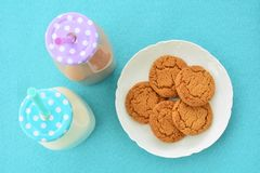 Milk and cookies from overhead Royalty Free Stock Images