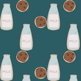 Milk cookies pattern Royalty Free Stock Photography
