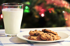Milk and cookies for Santa Stock Image