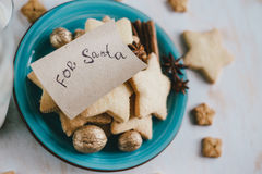 Milk and cookies for Santa Claus Stock Photos