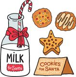 Milk cookies for Santa Claus Stock Images