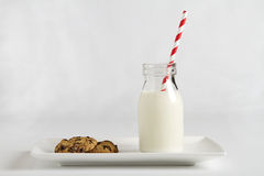 Milk and cookies for Santa Claus on Christmas night horizontal Stock Images