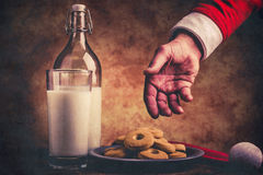 Milk and cookies for santa claus Royalty Free Stock Photos