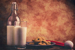 Milk and cookies for santa claus Stock Photo