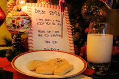 Milk and cookies for Santa. Royalty Free Stock Image
